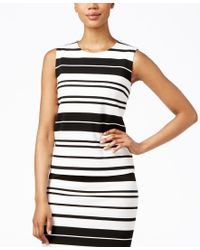 Calvin Klein - White Sleeveless Striped Shell - Lyst