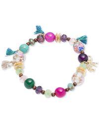 Lonna & Lilly | Multicolor Gold-tone Multi-bead Tassel Stretch Bracelet | Lyst