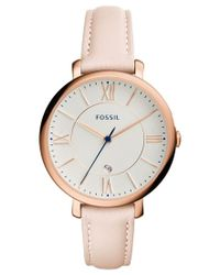 Fossil | Pink Women's Jacqueline Blush Leather Strap Watch 36mm Es3988 | Lyst