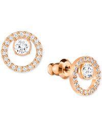 Swarovski   Metallic Pave Circle And Crystal Stud Earrings   Lyst