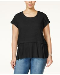 Style & Co. | Black . Plus Size Short-sleeve Flounce-hem Top, Only At Macy's | Lyst