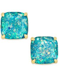 kate spade new york | Blue 14k Gold-plated Small Square Glitter Studs | Lyst