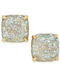 Kate Spade | White 14k Gold-plated Small Square Glitter Studs | Lyst