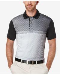 PGA TOUR - Black Men's Tonal Print Golf Polo for Men - Lyst