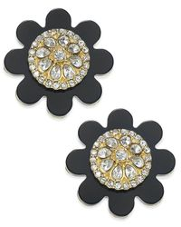 kate spade new york | Metallic 14k Gold-plated Crystal Shadow Blossom Button Earrings | Lyst