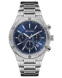 Bulova - Blue Men's Chronograph Stainless Steel Bracelet Watch 43mm 96b248 for Men - Lyst
