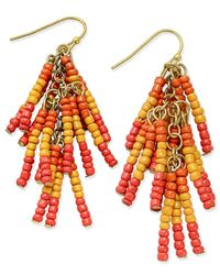Macy's - Yellow Gold-tone Beaded Fringe Chandelier Earrings - Lyst