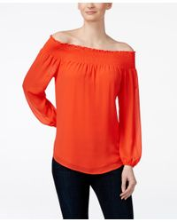 fe0583fd20ad6 Lyst - Michael Kors Michael Off-the-shoulder Blouse in Orange