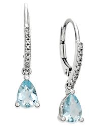 Macy's | Blue Aquamarine (1-1/10 Ct. T.w.) And Diamond (1/10 Ct. T.w.) Drop Earrings 14k White Gold | Lyst