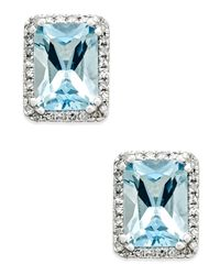 Macy's | Blue Aquamarine (1-1/2 Ct. T.w.) And Diamond (1/6 Ct. T.w.) Halo Stud Earrings In 14k White Gold | Lyst