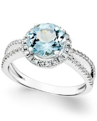 Macy's - Blue Aquamarine (1-1/2 Ct. T.w.) And Diamond (1/3 Ct. T.w.) Split Shank Ring In 14k White Gold - Lyst