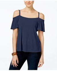 Michael Kors | Blue Petite Embellished Cold-shoulder Top | Lyst