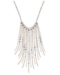 INC International Concepts - White Gold-tone Blue Beaded Fringe Statement Necklace, Only At Macy's - Lyst