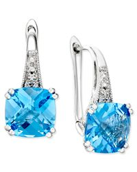Macy's | Metallic Blue Topaz (5-1/3 Ct. T.w.) And Diamond Accent Drop Earrings In 14k White Gold | Lyst