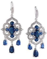 Carolee | Silver-tone Blue And Clear Crystal Chandelier Earrings | Lyst