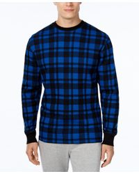 Polo Ralph Lauren | Blue Men's Plaid Waffle-knit Crew-neck Thermal Top for Men | Lyst