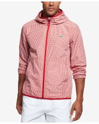 a9a9815fd8c9 Lyst - Lacoste Men s Lightweight Gingham Hooded Jacket in Pink for Men