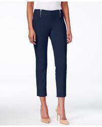 Alfani Blue Skinny Pull-on Zipper-detail Capri Pants, Only At Macy's