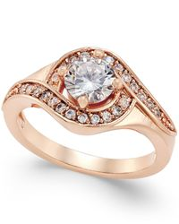 Charter Club | Red Rose Gold-tone Crystal Solitaire Twist Ring, Only At Macy's | Lyst
