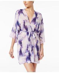 Linea Donatella Purple Bellina Lace-trimmed Printed Robe