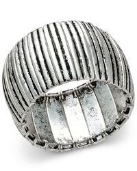 Macy's - Metallic Silver-tone Distressed-look Stretch Bangle Bracelet - Lyst