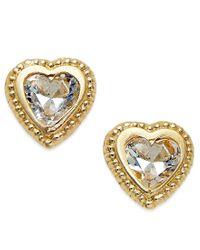Macy's - Metallic Cubic Zirconia Beaded Edge Heart Stud Earrings In 10k Gold - Lyst