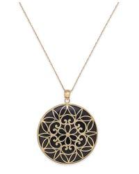 Macy's | Black Onyx Decorative Medallion Pendant Necklace (35mm) In 14k Gold | Lyst