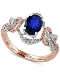 Effy Collection | Metallic Royale Bleu By Effy Sapphire (1-3/8 Ct. T.w.) And Diamond (1/4 Ct. T.w.) Ring In 14k Rose And White Gold | Lyst