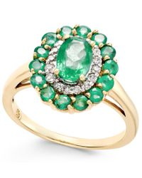 Macy's - Multicolor Emerald (1-5/8 Ct. T.w.) And Diamond (1/6 Ct. T.w.) Oval Floral Ring In 14k Gold - Lyst