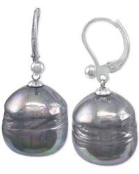 Majorica | Metallic Sterling Silver Imitation Black Baroque Pearl (12mm) Drop Earrings | Lyst