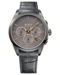BOSS - Hugo Men's Chronograph Onyx Gray Leather Strap Watch 44mm 1513366 for Men - Lyst