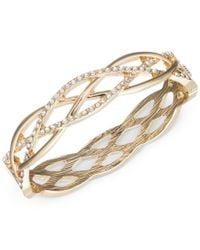 Anne Klein | Metallic Gold-tone Braided-style Pave Bangle Bracelet, A Macy's Exclusive Style | Lyst