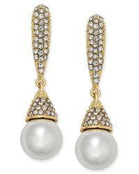 INC International Concepts | Metallic Rose Gold-tone Imitation Pearl And Pavé Drop Earrings | Lyst