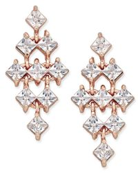 INC International Concepts - Metallic Rose Gold-tone Square Crystal Chandelier Earrings, Only At Macy's - Lyst