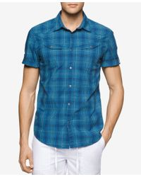 Calvin Klein Jeans - Blue Men's Rolling Plaid Short-sleeve Shirt for Men - Lyst
