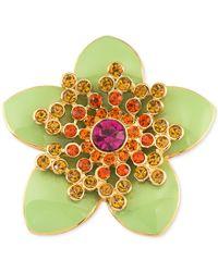 Carolee - Gold-tone Green Enamel Multi-crystal Flower Pin - Lyst