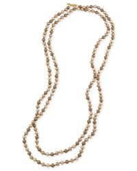 Carolee | Metallic Gold-tone Gray Imitation Pearl Long Length Necklace | Lyst
