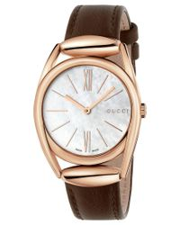 Gucci Women's Swiss Horsebit Brown Leather Strap Watch 30mm Ya140507
