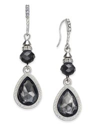 INC International Concepts | Black Silver-tone Jet Stone Drop Earrings | Lyst