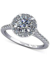 Macy's | Metallic Diamond Square Halo Skinny Mount (1/3 Ct. T.w.) In 14k White Gold | Lyst
