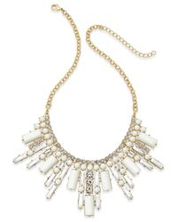 ABS By Allen Schwartz | Gold-tone White Stone And Crystal Deco Statement Necklace | Lyst