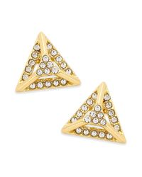 ABS By Allen Schwartz   Metallic Gold-tone Pave Pyramid Stud Earrings   Lyst