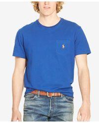 Polo Ralph Lauren   Blue Men's Cotton Jersey Pocket Crewneck T-shirt for Men   Lyst