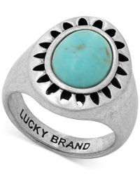 Lucky Brand - Blue Silver-tone Stone Statement Ring - Lyst