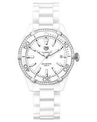 Tag Heuer | Women's Swiss Aquaracer Diamond (1/4 Ct. T.w.) White Ceramic Bracelet Watch 35mm Way1396.bh0717 | Lyst