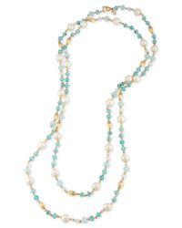 Carolee | Gold-tone Imitation Pearl And Blue Beaded Long Length Necklace | Lyst