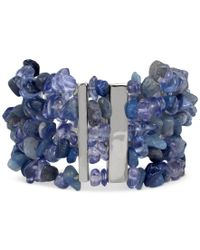 Kenneth Cole | Metallic Silver-tone Blue Chip Beaded Multi-row Stretch Bracelet | Lyst