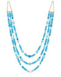 kate spade new york | Gold-tone Three-strand Blue Beaded Statement Necklace | Lyst