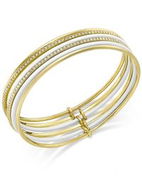 kate spade new york   White Gold-tone Blue Enamel Stacked Bangle Bracelets   Lyst