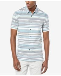 Perry Ellis - Multicolor Men's Horizontal-stripe Short-sleeve Shirt for Men - Lyst